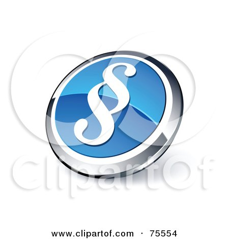 Royalty-Free (RF) Clipart Illustration Of A Round Blue And Chrome 3d Paragraph Web Site Button by beboy