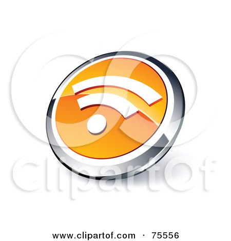 Royalty-Free (RF) Clipart Illustration Of A Round Orange And Chrome 3d RSS Web Site Button by beboy