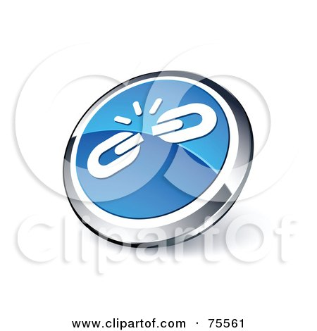 Royalty-Free (RF) Clipart Illustration Of A Round Blue And Chrome 3d Weak Links Web Site Button by beboy