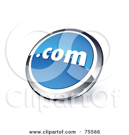 Royalty-Free (RF) Clipart Illustration Of A Round Blue And Chrome 3d Dot Com Web Site Button by beboy