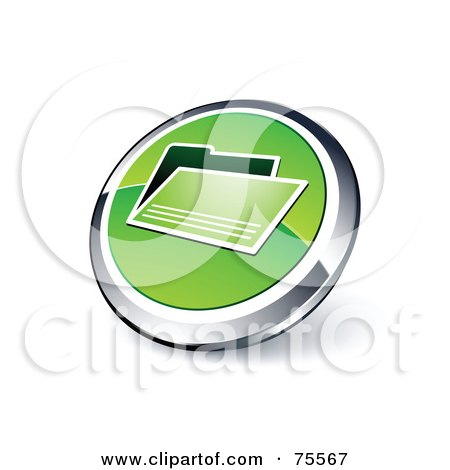Royalty-Free (RF) Clipart Illustration Of A Round Green And Chrome 3d File Web Site Button by beboy