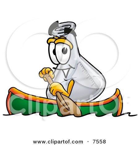 Clipart Picture of an Erlenmeyer Conical Laboratory Flask Beaker Mascot Cartoon Character Rowing a Boat by Toons4Biz