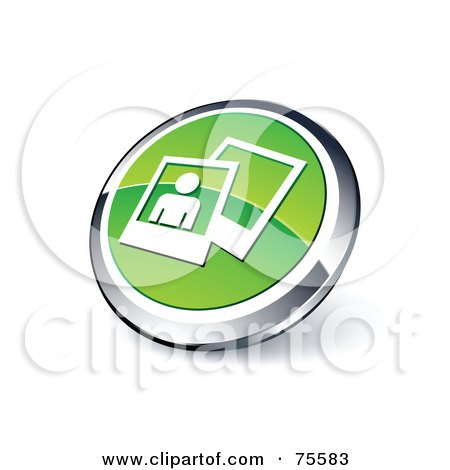 Royalty-Free (RF) Clipart Illustration Of A Round Green And Chrome 3d Photos Web Site Button by beboy