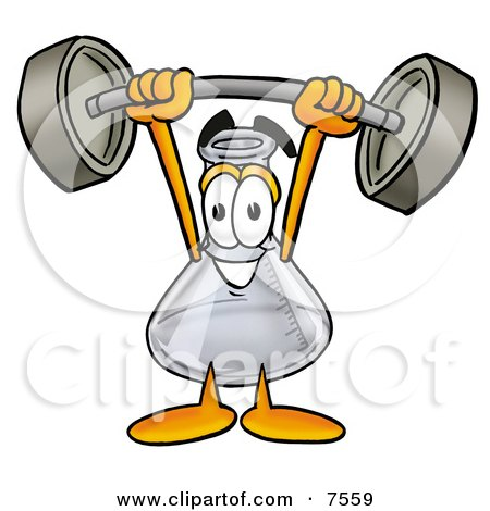Clipart Picture of an Erlenmeyer Conical Laboratory Flask Beaker Mascot Cartoon Character Holding a Heavy Barbell Above His Head by Toons4Biz