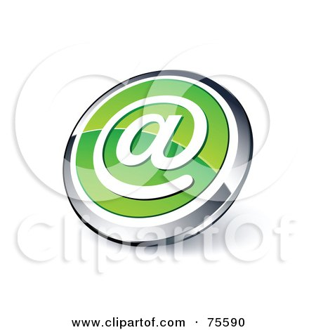 Royalty-Free (RF) Clipart Illustration Of A Round Green And Chrome 3d At Symbol Web Site Button by beboy