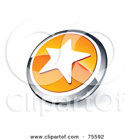 Royalty-Free (RF) Clipart Illustration Of A Round Orange And Chrome 3d Star Web Site Button by beboy