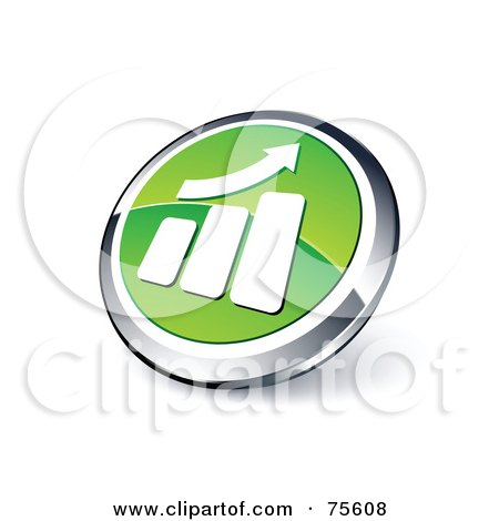 Royalty-Free (RF) Clipart Illustration Of A Round Green And Chrome 3d Growth Graph Web Site Button by beboy