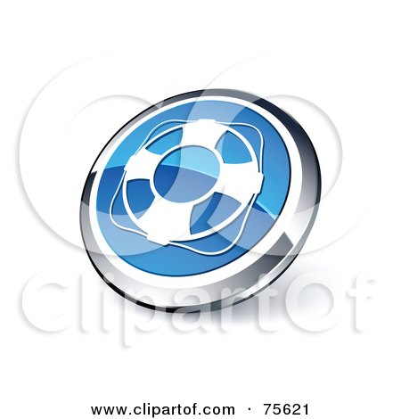 Royalty-Free (RF) Clipart Illustration Of A Round Blue And Chrome 3d Life Buoy Web Site Button by beboy
