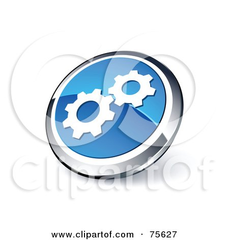 Royalty-Free (RF) Clipart Illustration Of A Round Blue And Chrome 3d Gears Web Site Button by beboy