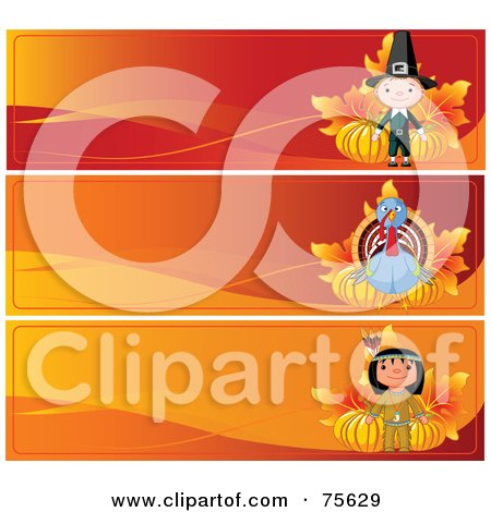 Royalty-Free (RF) Clipart Illustration of a Digital Collage Of Three Thanksgiving Banners; Pilgrim, Turkey And Native American by Pushkin