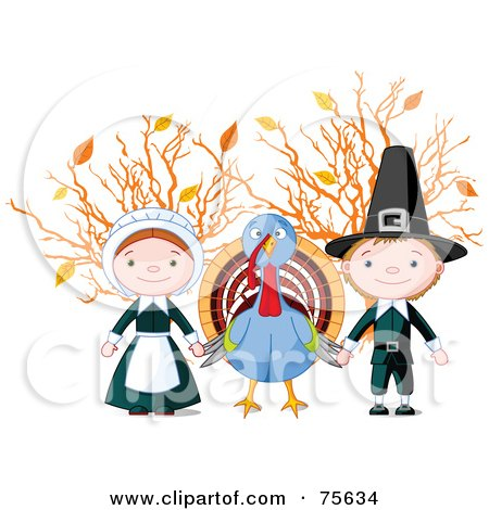 Royalty-Free (RF) Clipart Illustration of a Thanksgiving Turkey Holding Hands With Pilgrims In Front Of Autumn Branches by Pushkin