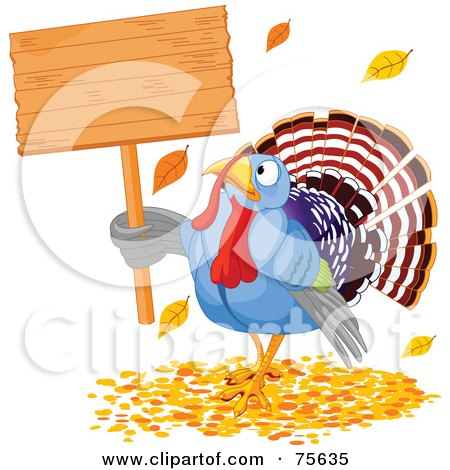 Royalty-Free (RF) Clipart Illustration of a Thanksgiving Turkey Holding A Blank Wooden Sign In Autumn Leaves by Pushkin