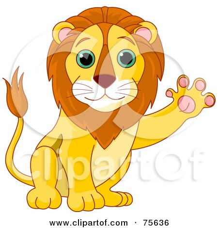 Royalty-Free (RF) Clipart Illustration of a Friendly Male Lion Waving His Paw by Pushkin