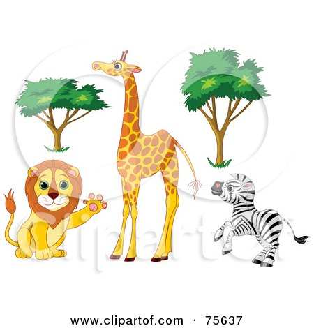 Royalty-Free (RF) Clipart Illustration of a Digital Collage Of African Trees And Animals; Friendly Lion, Tall Giraffe And Rearing Zebra by Pushkin
