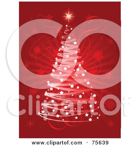 Royalty-Free (RF) Clipart Illustration of a Red Christmas Background With A Scribble Tree And Sparkles Over A Faint Snowflake Burst by Pushkin
