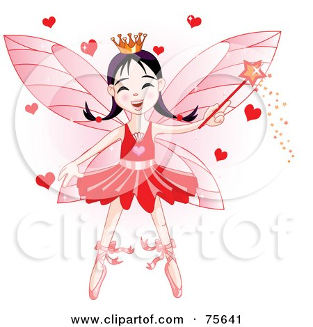 Royalty-Free (RF) Clipart Illustration of a Ballerina Fairy Princess In Red, Waving A Magic Wand With Hearts by Pushkin