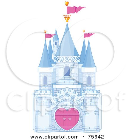 Royalty-Free (RF) Clip Art Illustration of a Blue Brick Fantasy Castle With Heart Gates And Pink Flags by Pushkin