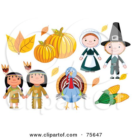 Royalty-Free (RF) Clipart Illustration of a Thanksgiving Digital Collage Of Autumn Leaves, Pumpkins, Pilgrims, Corn, A Turkey And Native Americans by Pushkin