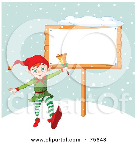 Royalty-Free (RF) Clipart Illustration of an Energetic Christmas Elf Ringing A Bell By A Blank Sign In The Snow by Pushkin