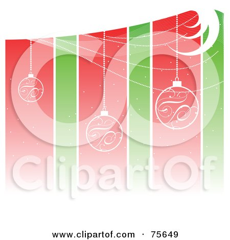 Royalty-Free (RF) Clipart Illustration of a Background Of Suspended Christmas Bulbs Over Red And Green Stripes by Pushkin