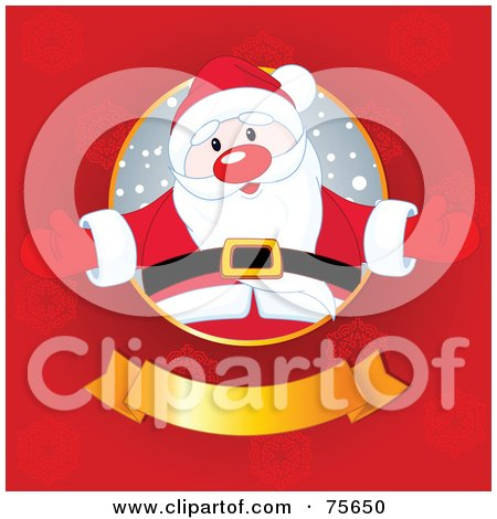 Jolly Santa Welcoming From A Circle Above A Golden Banner On A Red Snowflake Background Posters, Art Prints