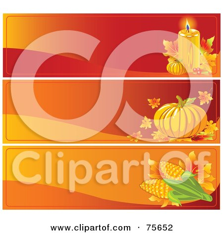 Royalty-Free (RF) Clipart Illustration of a Digital Collage Of Three Thanksgiving Candle, Pumpkin And Corn Website Banners by Pushkin