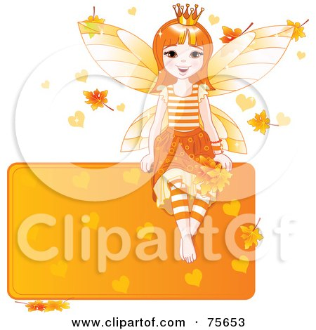 Royalty-Free (RF) Clipart Illustration of a Happy Autumn Fairy Princess Sitting On A Blank Orange Sign With Leaves And Hearts by Pushkin