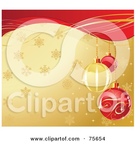 Royalty-Free (RF) Clipart Illustration of Ornate Red And Golden Christmas Bulbs Over A Snowflake Gold Background With Red Waves by Pushkin