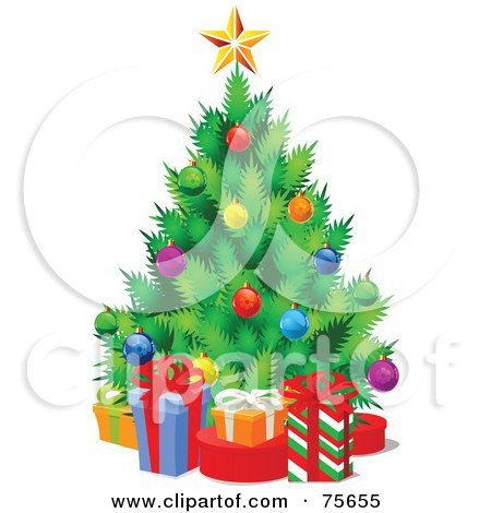 Royalty-Free (RF) Clipart Illustration of a Christmas Tree With Colorful Baubles, Surrounded By Gift Boxes by Pushkin