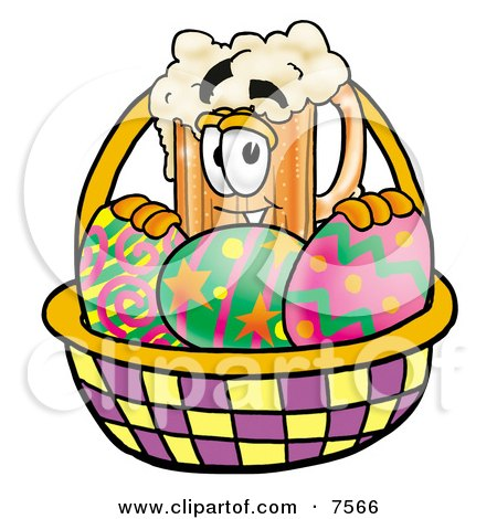 Clipart Picture of a Beer Mug Mascot Cartoon Character in an Easter Basket Full of Decorated Easter Eggs by Toons4Biz