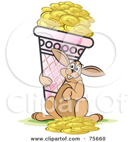 Royalty-Free (RF) Clipart Illustration of a Happy Hare Carrying An Ice Cream Cone Full Of Gold Coins by Lal Perera