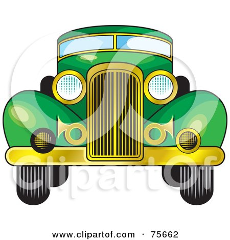 Royalty-Free (RF) Clipart Illustration of a Retro Green Car With A Gold Bumper by Lal Perera