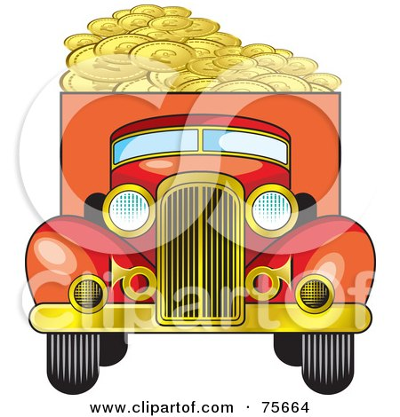 Royalty-Free (RF) Clipart Illustration of a Retro Red Truck Hauling Coins by Lal Perera