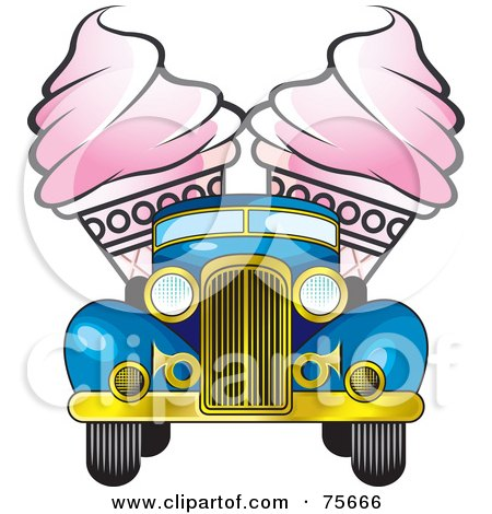 Royalty-Free (RF) Clipart Illustration of Two Pink Ice Cream Cones In The Back Of A Retro Blue Truck by Lal Perera