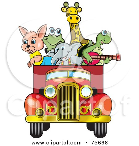 Royalty-Free (RF) Clipart Illustration of Animals Riding In The Back Of A Vintage Red Truck by Lal Perera
