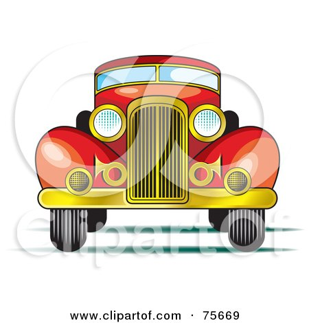 Royalty-Free (RF) Clipart Illustration of a Retro Red Car With A Gold Bumper by Lal Perera
