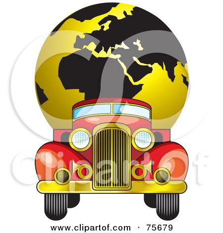 Royalty-Free (RF) Clipart Illustration of a Vintage Red Truck Moving A Gold And Black Globe by Lal Perera