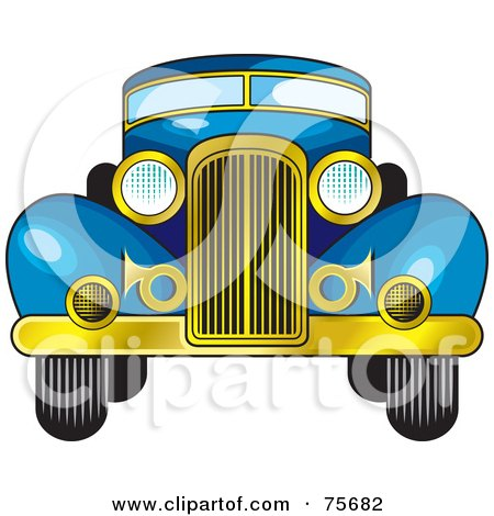 Royalty-Free (RF) Clipart Illustration of a Retro Blue Car With A Gold Bumper by Lal Perera