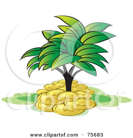 Royalty-Free (RF) Clipart Illustration of a Leafy Tree Growing In A Pile Of Coins by Lal Perera