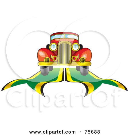 Royalty-Free (RF) Clipart Illustration of a Retro Red Car Driving On Blue And Yellow Ribbons by Lal Perera
