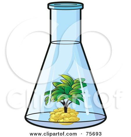 Royalty-Free (RF) Clipart Illustration of a Tree Growing In A Pile Of Money Inside A Beaker by Lal Perera