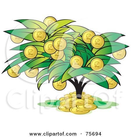 Royalty-Free (RF) Clipart Illustration of a Tree With Coin Fruits by Lal Perera