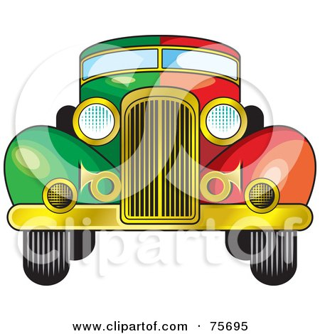 Royalty-Free (RF) Clipart Illustration of a Rretro Half Green, Half Red Vintage Car Witha A Gold Bumper by Lal Perera