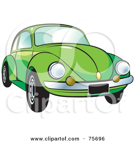 Royalty-Free (RF) Clipart Illustration of a Parked Green Slug Bug Car With A Chrome Bumper by Lal Perera