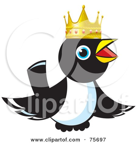 Royalty-Free (RF) Clipart Illustration of a King Magpie Wearing A Gold Crown by Lal Perera