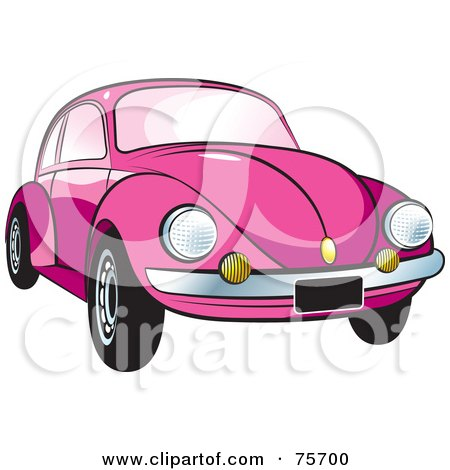 Royalty-Free (RF) Clipart Illustration of a Parked Pink Slug Bug Car With A Chrome Bumper by Lal Perera