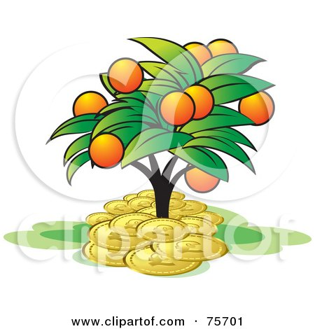 Tree With Orange Fruits, Growing In A Pile Of Coins Posters, Art