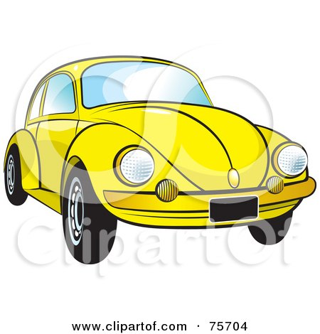 Royalty-Free (RF) Clipart Illustration of a Parked Yellow Slug Bug Car With A Chrome Bumper by Lal Perera