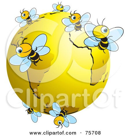 Busy Bees Flying Around A Gold Globe Posters, Art Prints