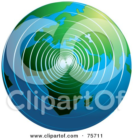 Royalty-Free (RF) Clipart Illustration of Spiral Waves Spreading Around The Globe by Lal Perera